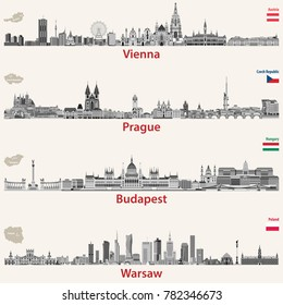 vector city skylines of Vienna, Prague, Budapest and Warsaw. Maps and flags of Austria, Czech Republic, Budapest and Poland.