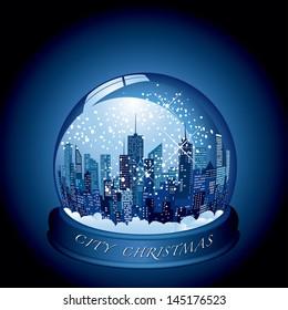vector city snow globe