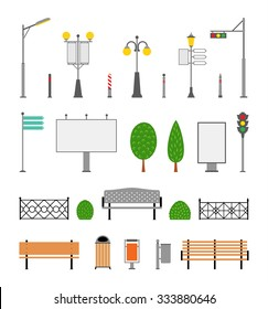 Vector city street urban elements icon set. Parks, alleys and sidewalks decoration elements.