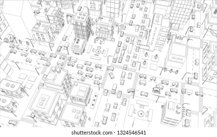 Vector city streets Intersection outline. Buildings and road traffic top view. Gray lines outline contour style background. Town high detailed.