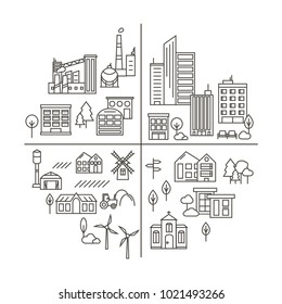 Vector City, Town and Countryside Illustration in Linear Style - buildings, factories, park, farming and church. Thin line art icons.