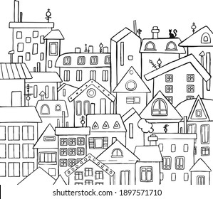 Vector City, Town and Countryside Illustration in Linear Style - buildings, skyscraper, church, factory, barn.