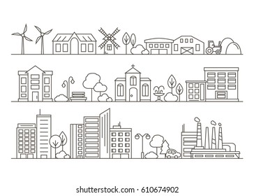 Vector City, Town and Countryside Illustration in Linear Style - buildings, skyscraper, church, park, factory, barn, mill, tractor and trees. Thin line art icons.