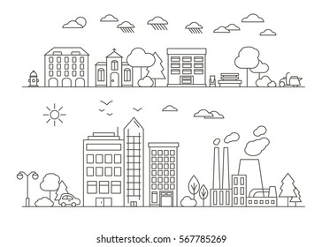 Vector City and Town Illustration in Linear Style - buildings, skyscraper, church, park, factory, hydrant and trees. Thin line art icons. City and park design elements for map.