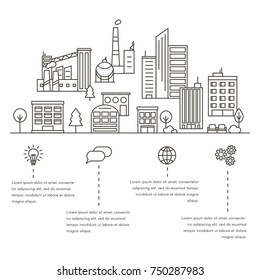 Vector City and Town Illustration in Linear Style - buildings, industrial plants, factory, park and trees. Thin line art icons.