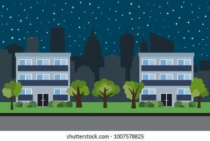 Vector city with two three-story cartoon houses and green trees at night. Summer urban landscape. Street view with cityscape on a background