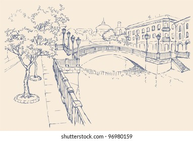 Vector cityscape. The architectural complex of the old city. Classic houses on the river channel and the bridge with lanterns