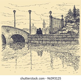 Vector cityscape. Architectural motif of the old city. Couple admiring the evening sunset over the canal bridge with lanterns around the park fence