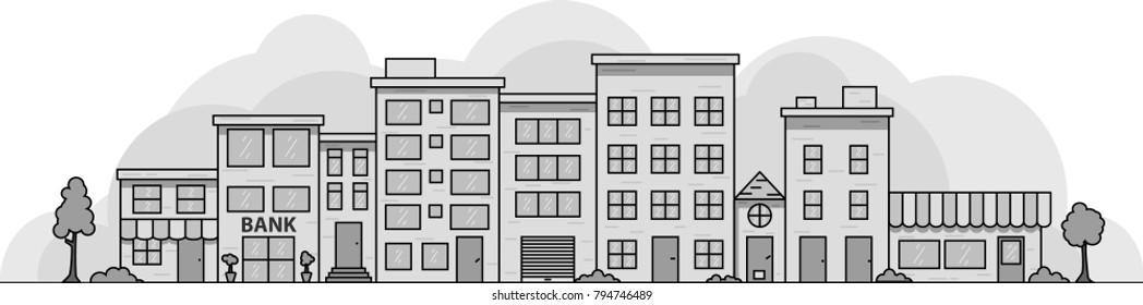 Vector Cityscape in gray color