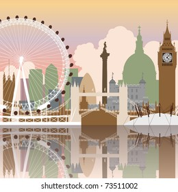 A Vector Cityscape of London with Reflection
