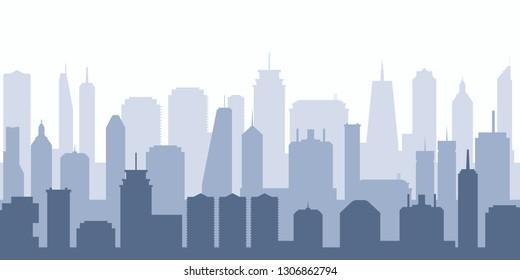 Vector cityscape. Modern city illustration - skyscraper skyline.