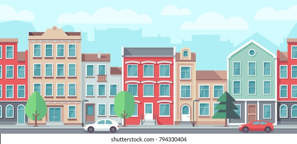 Vector cityscape with old apartment houses. Vector seamless town street. City europe facade building illustration
