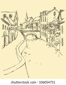 Vector cityscape. Old houses along the narrow street along the canal with the bridge