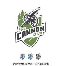 Vector Civil War Cannon, Sports Emblem, Badge Logo. Modern and Professional Business Branding, Corporate Identity Icon. Simple, Minimal, Flat - Symbol, Shape, Object.