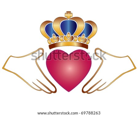 Vector Claddagh Chladaigh Irish Symbol Love Stock Vector Royalty