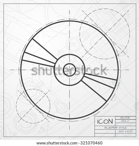 Vector Classic Blueprint Compact Disc Icon Stock Vector Royalty