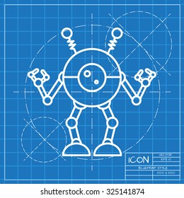 Vector classic blueprint of retro robot toy icon on engineer and architect background
