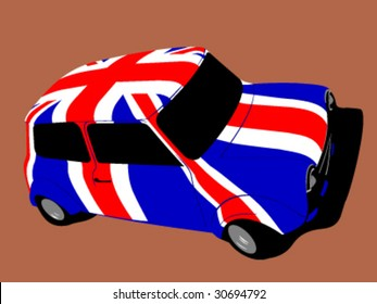 vector classic british mini car with flag of uk / great britain