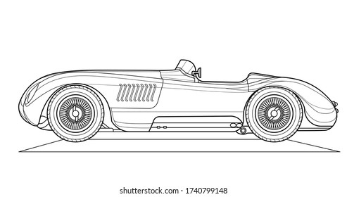 Vector classic car illustration coloring book page for adult drawing. Paper, outlines vehicle. Graphic element. Wheel. Black contour sketch illustrate Isolated on white background.