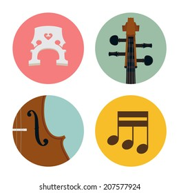 Vector classic cello icons on white background