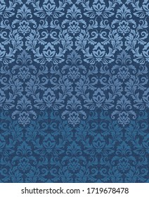 Vector Classic Damask Pattern. Wallpaper in the style of Baroque. Modern gradient background. Floral ornament. Graphic pattern for fabric, wallpaper, packaging. Ornate Damask flower ornament