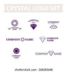 Vector classic diamond logo set isolated on white background. Jewellery flat simple logo collection. Rhinestone jewel company.