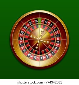 Vector classic European roulette placed on an endless green surface. Red & Black Betting casino squares. Winning money. Losing at gambling. classic casino roulette and green table.