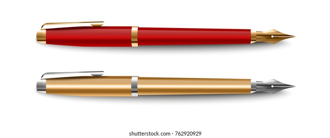 Vector classic gold ink pen on a white background