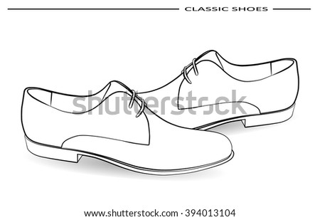 vector classic men shoes pencil drawing stock vector royalty free