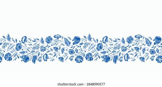 Vector classic porcelain blue floral border. Seamless royal hand drawn baroque design. Blue cutout florals on white background. Elegant nature background. Surface pattern design.