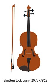 Vector classic violin with bow on white background