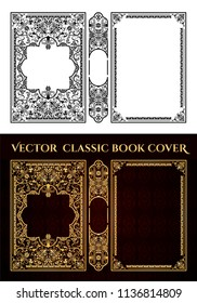 Vector classical book cover. Decorative vintage frame or border to be printed on the covers of books. Color can be changed in a few mouse clicks.