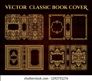 Vector classical book cover. Decorative vintage frame or border to be printed on the covers of books. Drawn by the standard size. Color can be changed in a few mouse clicks.