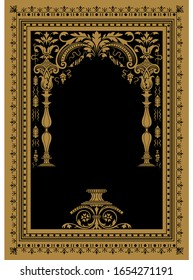Vector classical book cover. Decorative vintage frame or border to be printed on the covers of books.