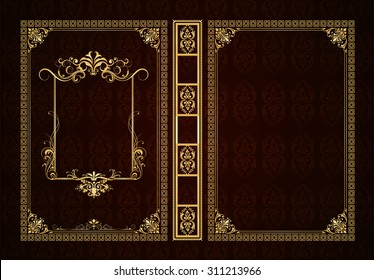Vector classical book cover. Decorative vintage frame or border to be printed on the covers of books. Drawn by the standard size