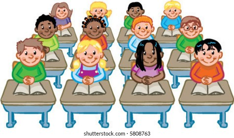 vector classroom full of students seated at their desks detailed illustration