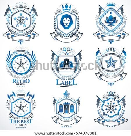 Vector Classy Heraldic Coat Arms Collection Stock Vector