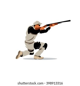 Vector Clay Shooting Cartoon Illustration. A Man with a Gun in his hands ready to shoot on goal. Branding Identity Corporate unusual Logo isolated on a white background
