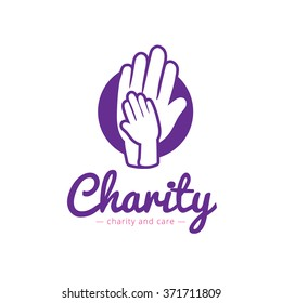 Vector clean charity center logo. Hospital logotype with hands