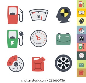 Vector clean icons set for web design and application user interface. Made in flat graphic style. Nice details and easily identifiable. Ideal for car infographic.