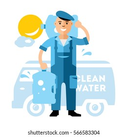 Vector Clean Water delivery. Flat style colorful Cartoon illustration.