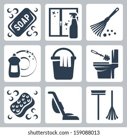 Vector cleaning icons set: soap, window cleaner, duster, dishwashing liquid, bucket and cloth, toilet brush and flush toilet, sponge, vacuum cleaner, mop