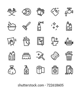 Vector Cleaning Services Flat Outline Icons Set