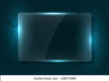 Vector clear glass banner over old distressed worn out blue wall background