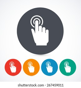 Vector click hand icons isolated on with background. Circle touch screen icons. 5 different colors.