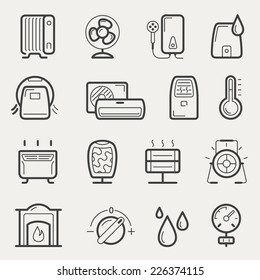 Vector climatic equipment icon set in line style