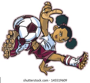 Vector clip art cartoon illustration of an african american girl using a break dancing move to play soccer. Also available in caucasian and asian!