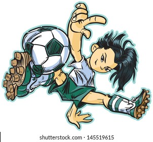 Vector clip art cartoon illustration of an asian girl using a break dancing move to play soccer. Also available in caucasian and african american!