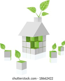 vector clip art of environmental green puzzle house built out of cubes ecology blocks, growing fresh green leaf