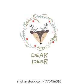 Vector, clip art, hand drawn. Funny animal, pattern, dear deer, baby, frame, hand font, wreath, fairy tale, floral. Congratulation card, poster, banner, t-shirt, other clothes and more. Isolated.
